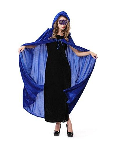 La Haute Halloween-Umhang Volle Länge Knautschsamt Kapuze Kostüm Gr. Einheitsgröße, königsblau