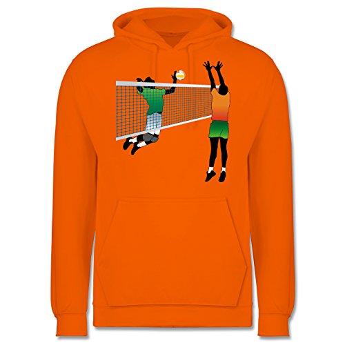 Volleyball - Volleyballspieler Netz Angriff Verteidigung - Männer Premium Kapuzenpullover / Hoodie Orange