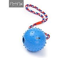 PetPäl Ball mit Seil Naturkautschuk | WurfballHundespiel-Ball mit Schnur | Hundeball Ø 7cm | Bälle Spielzeug am Seil für Hunde | Kauspielzeug aus Naturgummi | Hunde-Spielzeug