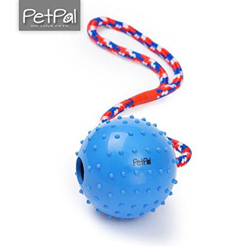 Ball mit Seil von PetPäl aus Naturkautschuk | WurfballHundespiel-Ball mit Schnur | Hundeball Ø 7cm | Bälle Spielzeug am Seil für Hunde | Kauspielzeug aus Naturgummi | Hunde-Spielzeug Ball Werfen Spielzeug