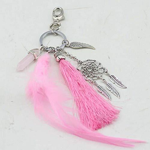 XHYKL natürlicher Opalstein Dreamcatcher Schlüsselring Beutel Charme Art und Weisesilberschmucksachefeder Keychain für Frauen
