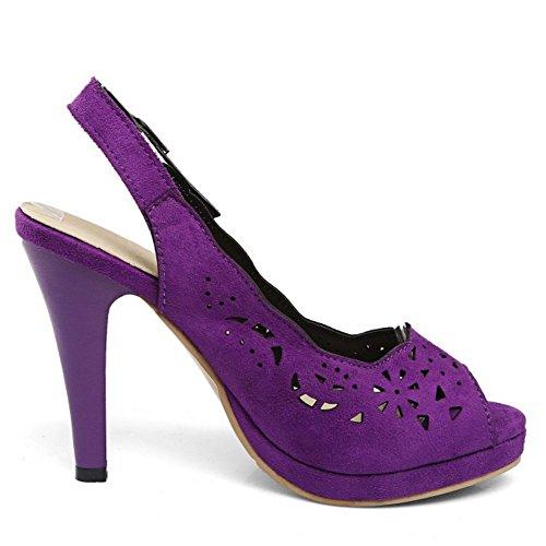 TAOFFEN Femmes Elegant Peep Toe Sandales Conique Talons Hauts Slingback Chaussures De Mariage Violet
