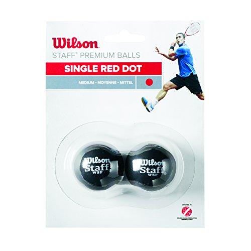 WILSON Staff Squash 2 Ball Red Dot Squashbälle, Black, One size