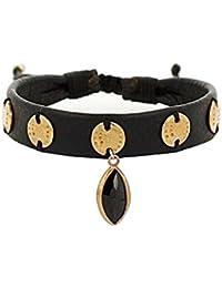 Chan Luu Bracelet en cuire noir ajustable avec pendentifs or - Femme