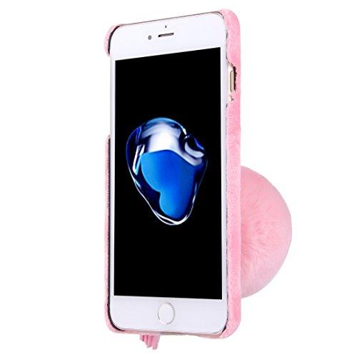Hülle für iPhone 7 plus , Schutzhülle Für iPhone 7 Plus 3D Kamelie Blume Pelzball Plüsch Tuch Abdeckung PC Schutzhülle ,hülle für iPhone 7 plus , case for iphone 7 plus ( Color : White ) Pink