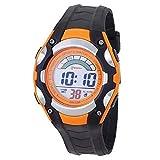 Armbanduhr für Kinder, Quarz, digital, Stoppuhr, sportlich, mit Alarm, wasserdicht, Schwarz/Rot