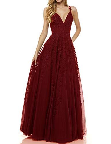 LuckyShe Damen Sexy V-Ausschnitt Abendkleider Ballkleid Elegant für Hochzeit Lang 2018 Weinrot Grosse Grössen 48