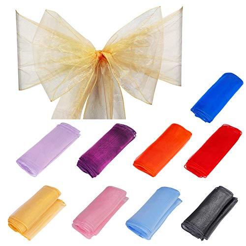 QIMEI-SHOP Organza Cinta Cubierta 15 Piezas Arco Silla