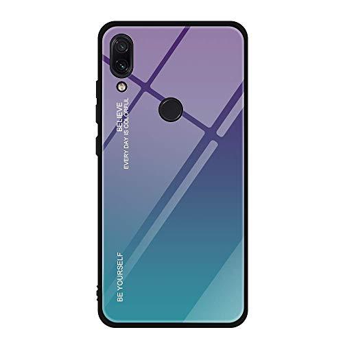 Hülle Kompatibel Mit Huawei Honor Play 8A Schutzhülle Hochwertig Blau 9H Gehärtetes Cover Case Play 8 A Handyhülle Silikon Edge Bumper Stoßfest Original Tasche Schale (Glas Lila Blau)