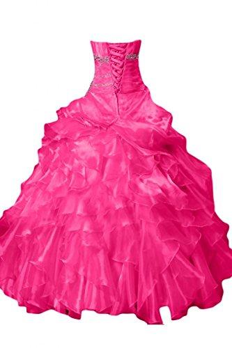 Sunvary donna senza spalline lungo Quinceanera Prom abiti da sera con pieghe Fuchsia