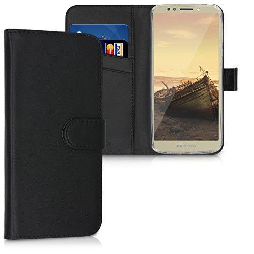 kwmobile Motorola Moto E5 Hülle - Kunstleder Wallet Case für Motorola Moto E5 mit Kartenfächern & Stand - Schwarz