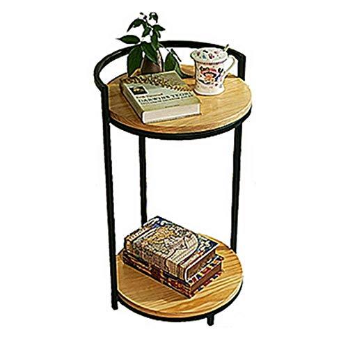 HJBH Tisch - Abnehmbares Tablett Runder Couchtisch Metall Holzbein Naturholz - Holzfarbe 40 * 70CM