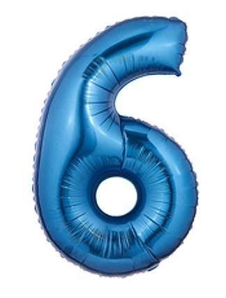 Blaue Nummer 6 Supershape Folienballon (nicht aufgeblasenen)
