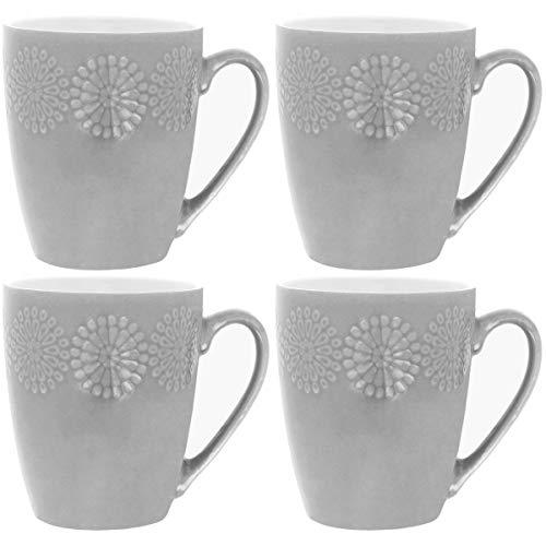 Promobo - Lot De 4 Mug Tasse A Café Design Fleur En Relief Scandinave Gris