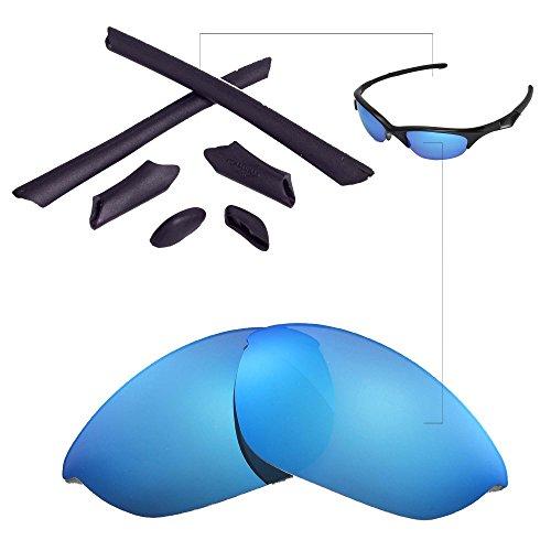 Walleva Ersatzgläser oder Linsen/Gummi für Oakley Half Jacket Sonnenbrille - 41 Optionen (Eisblau Polarisierte Linsen + Schwarzer Gummi)