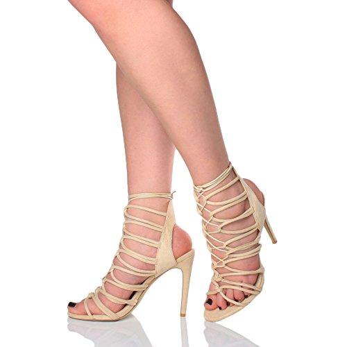 Damen Hoch Absatz Reimchen Ausgeschnitten Schnür-Pumps Sandalen Schuhe Größe Hautfarbe Beige Wildleder