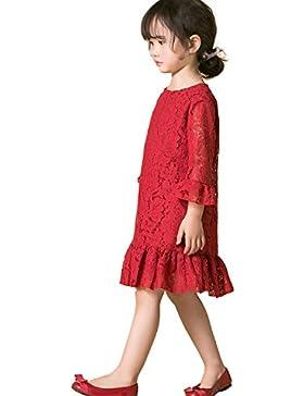 Mädchen Kleider Spitze Kind Kleid mit Hülse Weiches Baumwollfutter Lotus Blatt zum Party Hochzeit Beiläufig