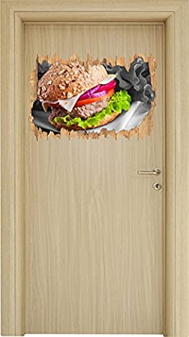 Gesunder Hamburger schwarz/weiß Holzdurchbruch im 3D-Look , Wand- oder Türaufkleber Format: 62x42cm, Wandsticker, Wandtattoo, (Weißer Cheddar)