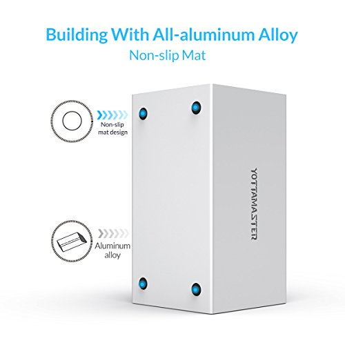 Top Yottamaster Aluminum Alloy 4 Bay 3.5 Inch USB3.1 Type C RAID External HDD Enclosure SATA3.0 Support 4x10TB & UASP -Silver Reviews