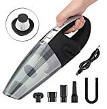 Xndryan - Aspirapolvere per auto senza fili, ricaricabile, piccolo e portatile, a basso rumore umido e asciutto, 12 V, potente aspirapolvere per auto, area animali domestici, cucina e ufficio