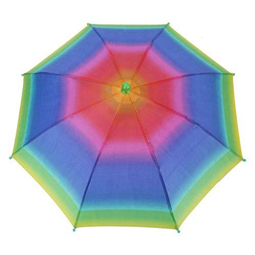 Ishua 1 PC Regenbogen-Regenschirm-Hut, justierbarer wasserdichter UVschutz im Freien Sun-Regen Headwear-Regenschirm-Splitter-Farbe (Quallen Kostüm Regenschirm)
