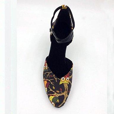 Scarpe da ballo-Personalizzabile-Da donna-Balli latino-americani / Moderno / Samba-A stiletto-Finta pelle-Nero Black