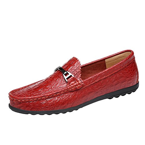 Insun mocassini uomo scarpe casuale loafers rosso 39 eu