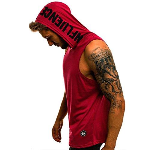 QinMM Camiseta con Capucha de Tirantes Deportes para Hombre, Tops Camisa sin Mangas de Verano Fitness (2XL, Rojo)