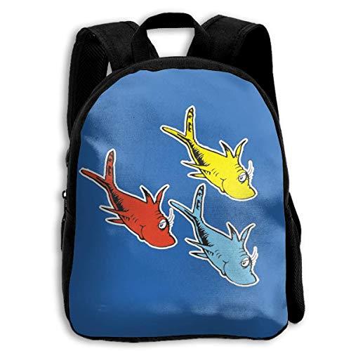 ADGBag Dr Seuss One Fish Two Fish Children's Backpack Kids School Bag with Adjustable Shoulders Ergonomic Back Pad Perfect for School Security Sporting Events Kinderrucksack Rucksack