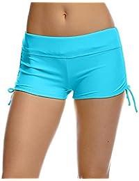 Imixcity Shorts de Natación para Deportes Acuáticos para Mujer Bikini Bottoms Traje de Baño Pantalones Cortos de Protección UV con Cordones Ajustables