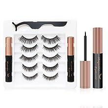 Magnetic eyeliner false eyelash set, 5 pairs of 3D reusable magnetic false eyelash, natural waterproof eyeliner liquid 10 ml