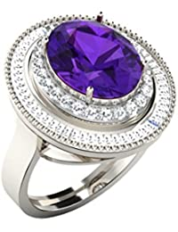 Silvernshine 1.36 Cts Round Cut Amethyst & Sim Diamonds Engagement Ring In 14KT White Gold PL
