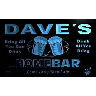 p271-b Dave's Home Bar Beer Family Last Name Neon Light Sign