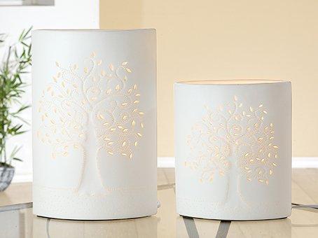GILDE Porzellan Lampe B 18 cm H 28 cm Ellipse Lebensbaum -