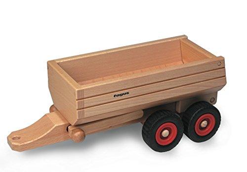Preisvergleich Produktbild FAGUS Holzspielzeug - Muldenkipper-Anhänger + GRATIS 1 FAGUS Spiralscheibe (siehe zusätzliches Bild) - FAGUS Holzspielwaren Made in Germany, liebevoll von Menschen mit Behinderung gefertigt