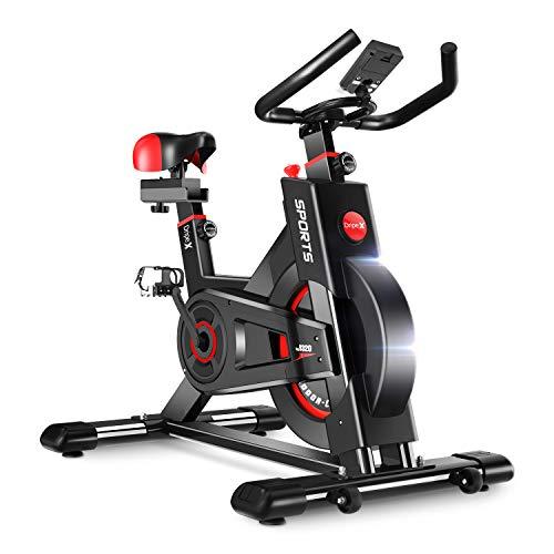 Dripex Heimtrainer Fahrrad, Ergometer Fitnessbikes Hometrainer mit Schutzhülle, Pulsmesser, stufenlose Widerstandseinstellung und großes Trägheitsschwungrad, Benutzergewicht bis 150kg (Rot)