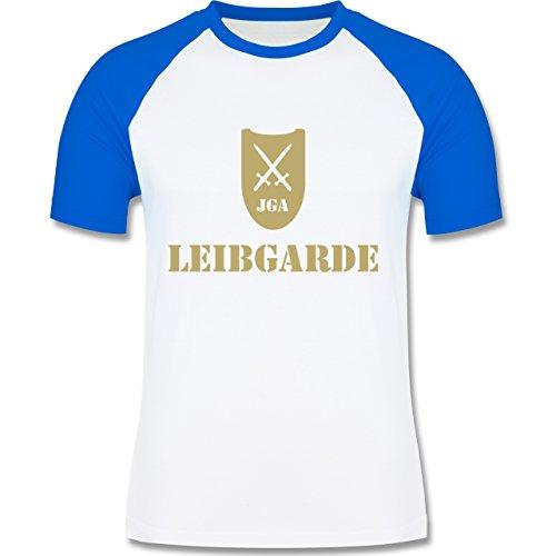 JGA Junggesellenabschied - Leibgarde - zweifarbiges Baseballshirt für Männer Weiß/Royalblau