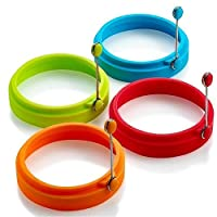 New Silicone Egg Ring, Egg Rings Non Stick, Egg Cooking Rings, Perfect Fried Egg Mold or Pancake Rings (4Pcs)