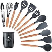 TianKunEU 12PCS de utensilios de cocina antiadherente Espátula Espátula mango de madera Cocinar las herramientas del conjunto de herramientas con caja de almacenamiento de cocina Hermoso y practico