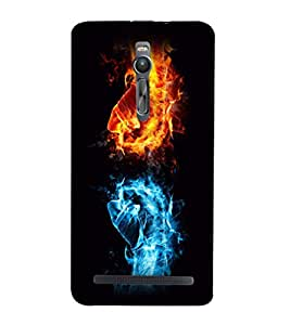 printtech Fire Ice Hands Punch Back Case Cover for Asus Zenfone 2::Asus Znfone 2 ZE550ML