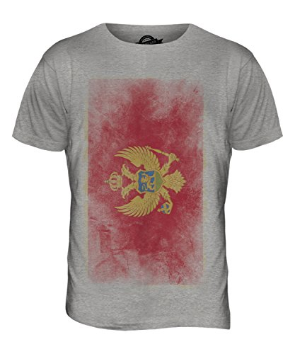 CandyMix Montenegro Verblichen Flagge Herren T Shirt Grau Meliert