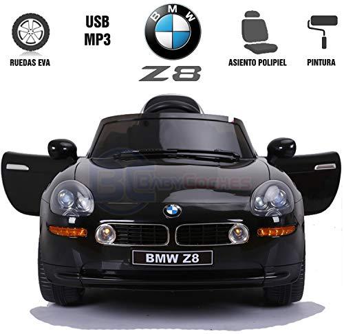 BC BABY COCHES Babycoches Coche de batería para niños BMW Z8, Licencia Oficial, Mando Parental, Equipo Audio, neumaticos EVA, Asiento Polipiel Color Negro Pintado