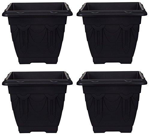 4-x-medium-30cm-square-venetian-plant-pot-planter-plastic-black-colour-pot
