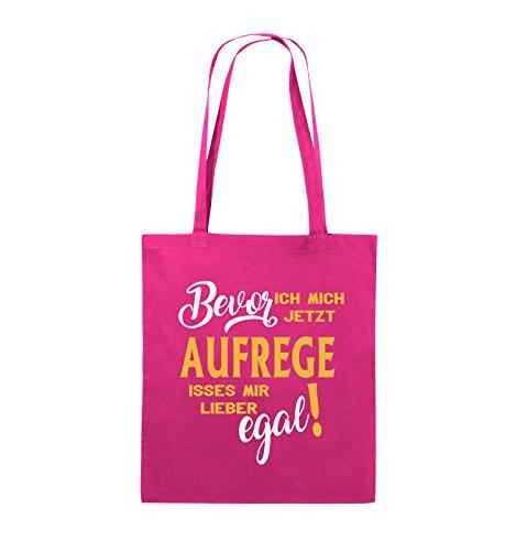 Comedy Bags - Bevor ich mich jetzt aufrege isses mir lieber egal! - Jutebeutel - lange Henkel - 38x42cm - Farbe: Schwarz / Weiss-Neongrün Pink / Gelb-Weiss