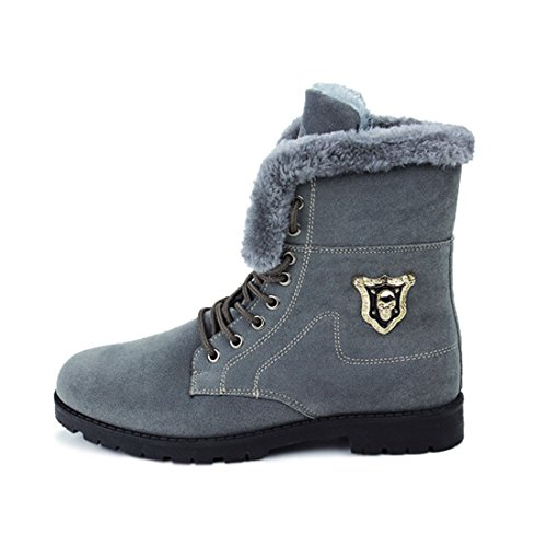 Men's Suede High Top Plush Warm Shoes gray