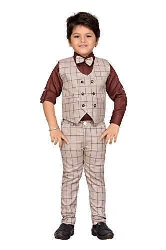AJ Dezines kids party wear waistcoat suit set for boys (826_BROWN_1)