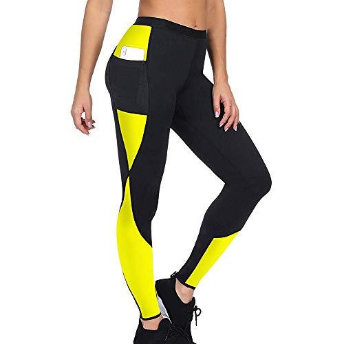 Shujin Damen Leggings Neopren Schwitzhose Zum Training High Waist Lange Hose oder Capri Hose Fitness Yoga Hose Body Shaper Abnehmen Schlanke Fitnesshose Training Capri-hosen