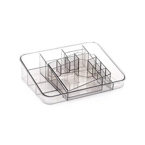 Plastica trasparente Trucco Organizzare cassetto Cosmetico Beauty Box Desktop Storage Case Nail Polish orecchino Contenitore accessori (Color : Gray)
