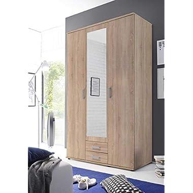 lifestyle4living Kleiderschrank in Eiche-Dekor, Drehtüren-Schrank mit Schubladen bietet viel Stauraum für den modernen Einrichtungs-Stil, 120 cm
