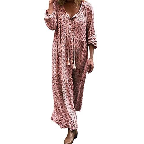 Hunde Feuerstein Für Kostüm - Zylione Damen Strandkleid Boho Herbstkleid Rüschen Tunika V-Ausschnitt Blumenkleid Lose T-Shirt Kleid Langarm Boho Maxikleid Strandkleid Freizeit Kleid Hippie Kleid
